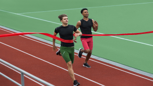 Two track athletes crossing finish line