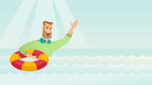 Illustration of businessman sinking with liferaft