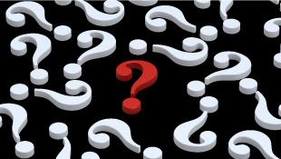 Red question mark amidst white question marks
