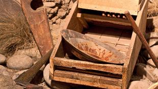 Gold mining equipment in yard