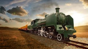 Vintage steam powered railway train