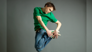 Man jumping and twisting