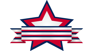 Red white and blue star with banner