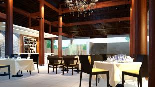Interior of modern restaurant empty