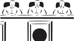 Three judges sitting behind the bench