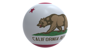 California flag on globe