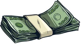 A stack of bills (money) illustration
