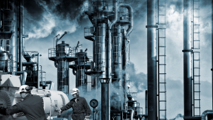 Oil refinery depicting pollution and toxic environment