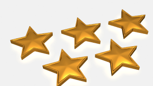 Five gold stars on white background