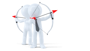 Illustration of stick figures with bows and arrows