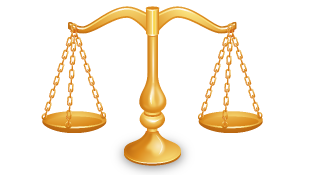 Gold law of justice scales