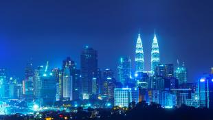 Skyline of high rises at night