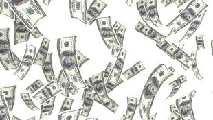 Money bills floating in air