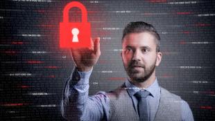 Businessman touching virtual red lock