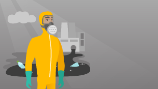Man in chemical suit with nuclear power station in background (illustration)