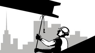 Construction worker carrying girder