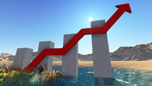 Business graph showing increase