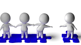 3d characters on blue puzzle pieces one reaching out to others