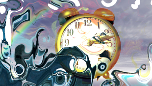 A clock with water-paint streaks