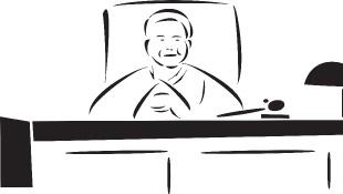 Trial judge sitting behind bench illustration