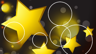 Gold stars and white circles over a black background