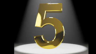 Gold number five under spot light