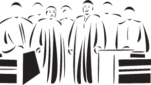 Judges standing behind bench