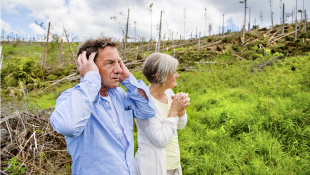 Elderly couple looking at hurricane damage