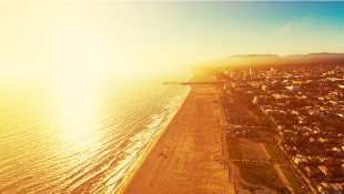 Santa Monica California aerial beach view