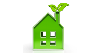 Illustration Green Eco House with Green Leaf Emerging