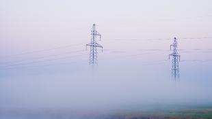Powerlines seen through fog