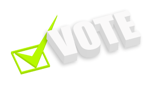 3d Vote with green check mark