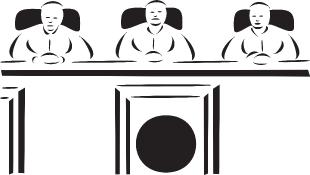 Three judges sitting behind bench
