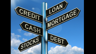 Credit loan mortgage signpost
