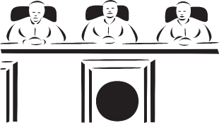 Illustration of three judges sitting behind bench