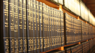 Law books on shelf