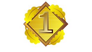 Number one in diamond with gold background
