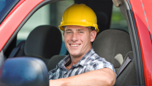 Construction worker in vehicle