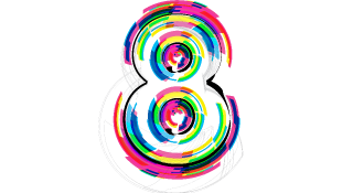 Number 8 with different color font illustration