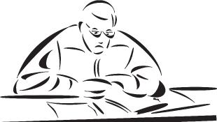 Judge sitting behind bench (illustration)