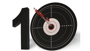 Number 10 with dart in middle of zero