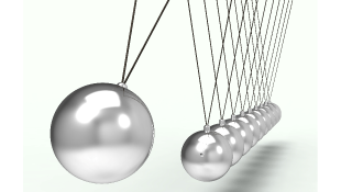 Newton cradle shows pinballs colliding