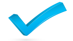 Large blue check mark
