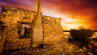 Ruins sunset background