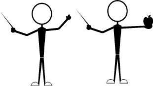 Two stick figures one holding an apple