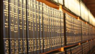 Bookshelf full of law tomes
